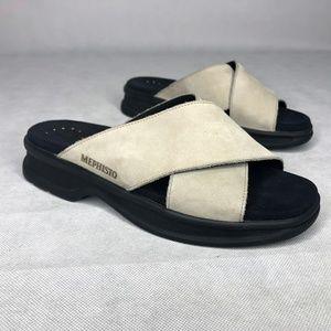 Mephisto Comfort Walking Sandal Cream Criss Cross